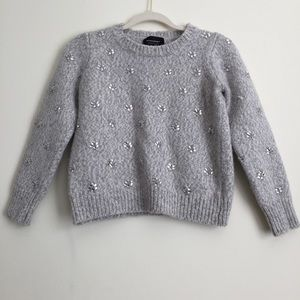 Banana Republic Med Gray Knit Crew Neck With Gems